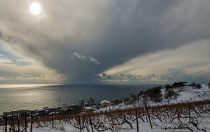 Crimean Winter. Clouds over the Black sea