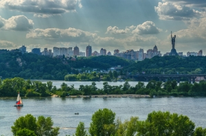 View on the Kyiv from the left bank the Dnieper river