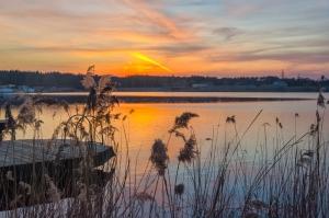 Закат на реке Стугна. Украинка. Киевская область