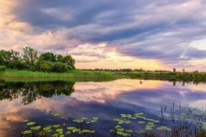 Закат на реке Уж. Тридцатикилометровая зона отчуждения